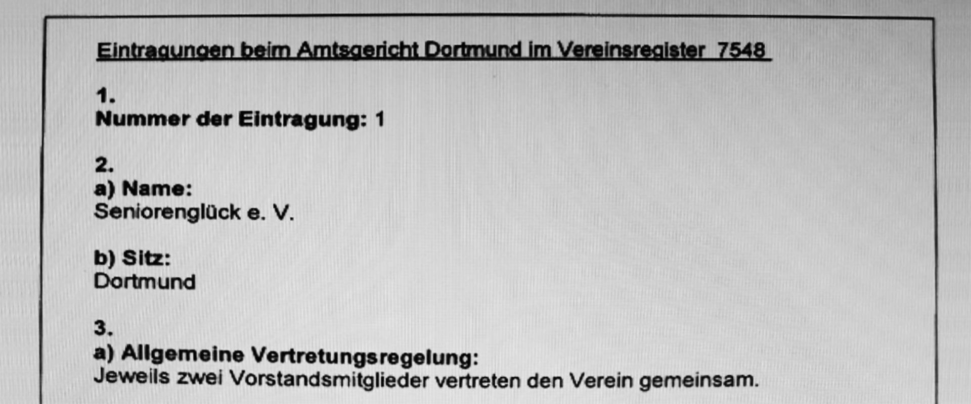 Eintrag des Seniorenglück e.V. ins Vereinsregister Nr. 7548 beim Amtsgericht Dortmund - Titelbild